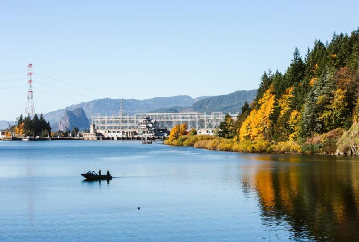 Two people in a lone boat fish upstream of Bonneville Dam off Bradford Island, seen to the right. The Yakama Nation along with the states of Washington and Oregon this month requested the U.S. Environmental Protection Agency designate the area as a Superfund site.