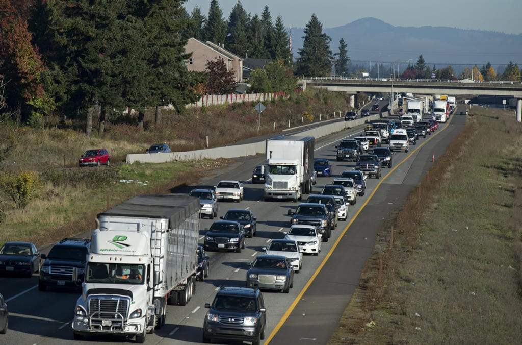 Morning traffic crawls along Interstate 205 South near the exit for Mill Plain Boulevard.