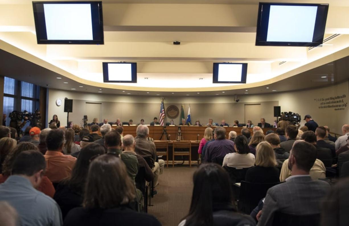 The first official meeting begins of the 16-member committee of state legislators from Washington and Oregon tasked with discussing a replacement of the Interstate 5 Bridge at City Hall in Vancouver on Friday. (Alisha Jucevic/The Columbian)