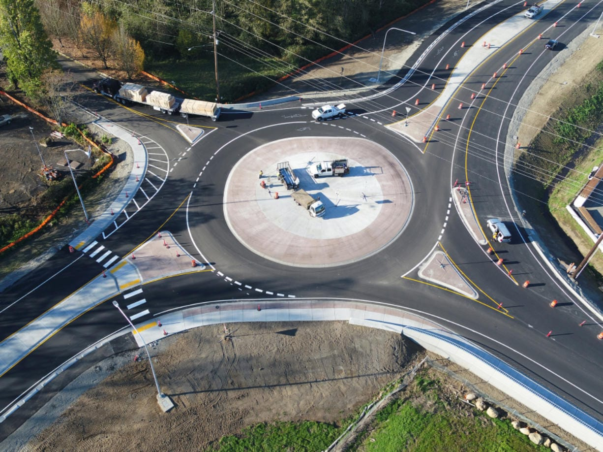 A roundabout on state Highway 14 and 32nd Street in Washougal as seen in this October aerial photo taken from a drone. (Washington State Department of Transportation)