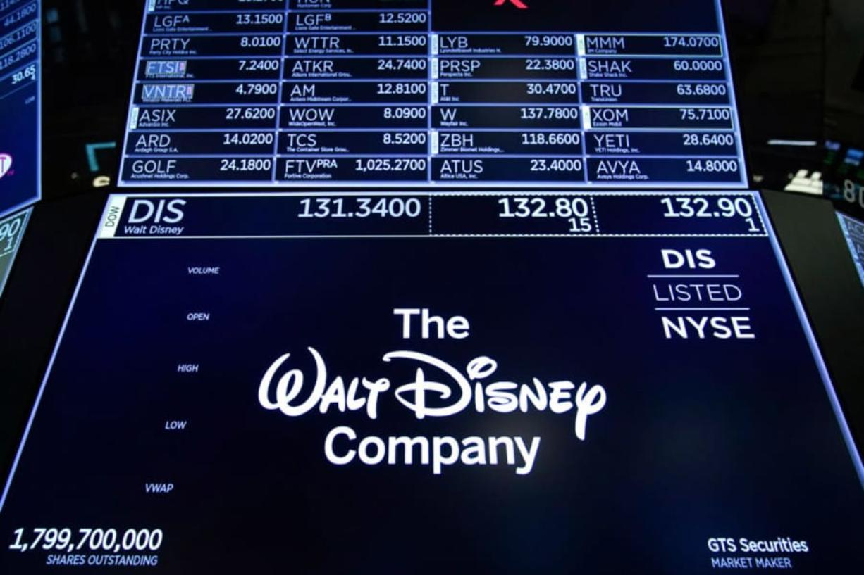 A logo for The Walt Disney Company is displayed on a trading post during the opening bell on the floor of the New York Stock Exchange in New York City. (Drew Angerer/Getty Images)