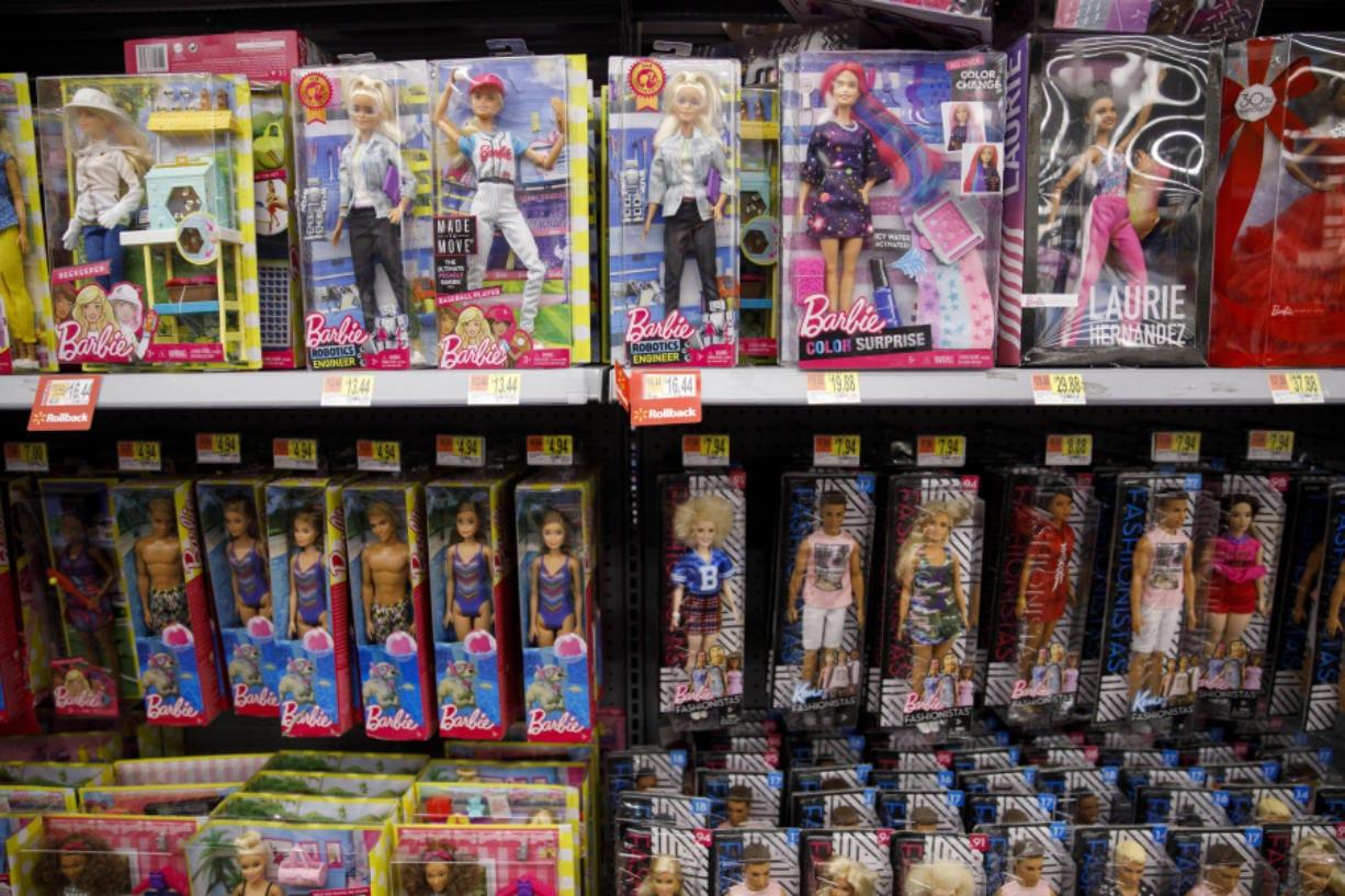 Mattel Barbie dolls are displayed inside a Walmart store in Burbank, Calif. (Patrick T. Fallon/Bloomberg)