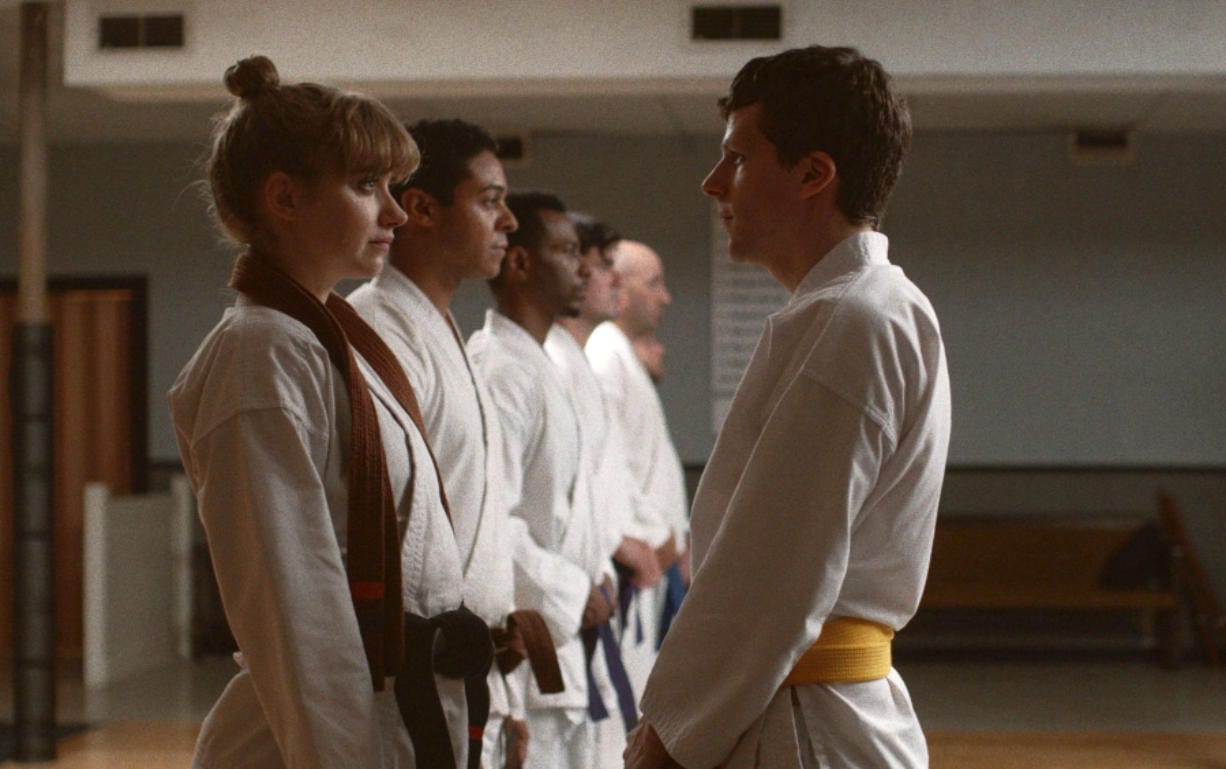 """Imogen Poots, left, and Jesse Eisenberg in a scene from """"The Art of Self-Defense."""" (Bleecker Street)"""
