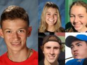 Week 6 Fall Sports Prep Athlete of the Week Evan Jenkins of Camas cross country and other nominees (clockwise from top) Sophia Carter of Prairie volleyball, Brooke Kirby of Heritage slowpitch softball, Cade Bringhurst of Ridgefield golf and Wilson Keller of Columbia River tennis