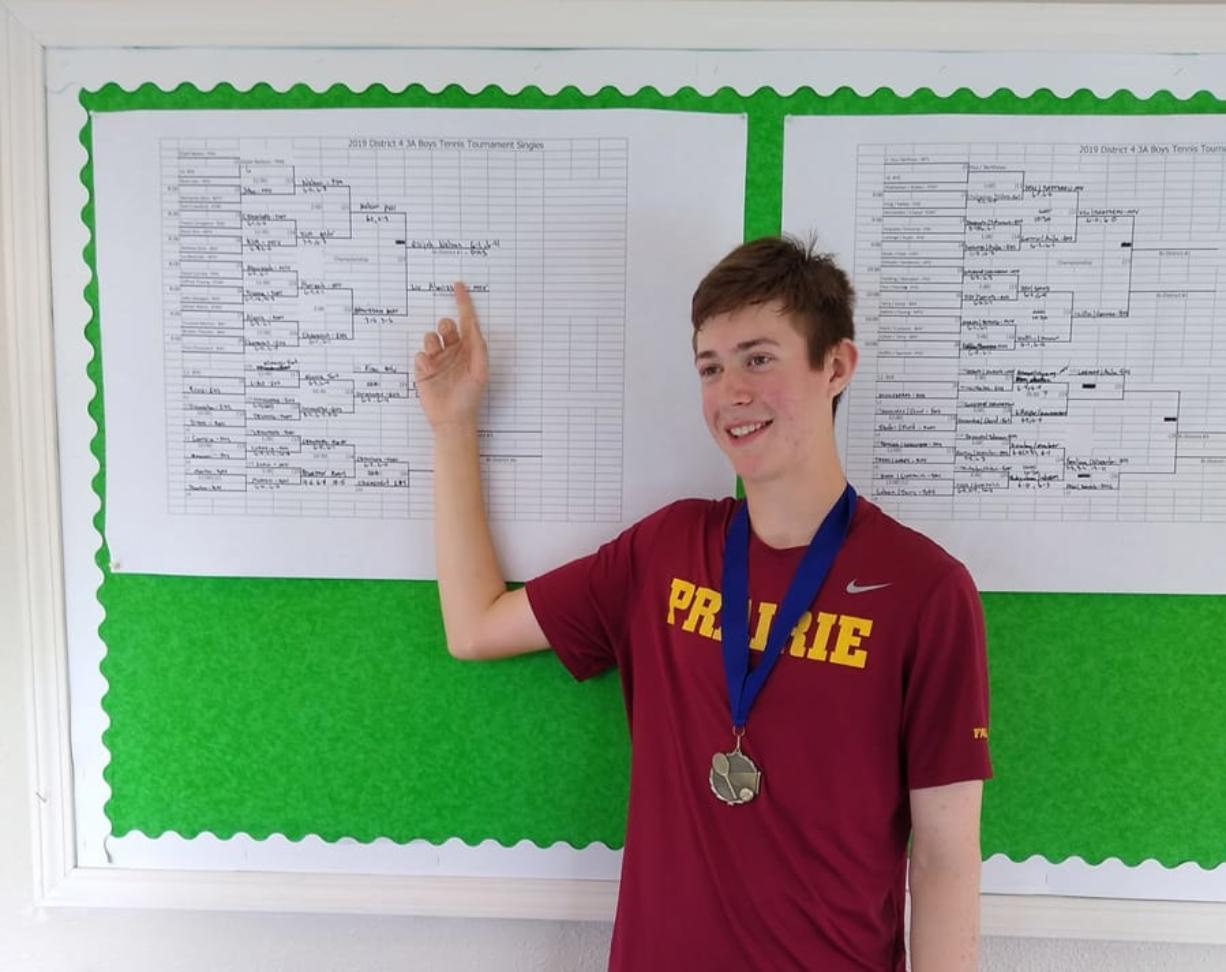 Prairie High School sophomore Elijah Nelson won the 3A district boys tennis singles title on Saturday, Oct. 26, 2019, at Club Green Meadows. (Jeff Klein/The Columbian)