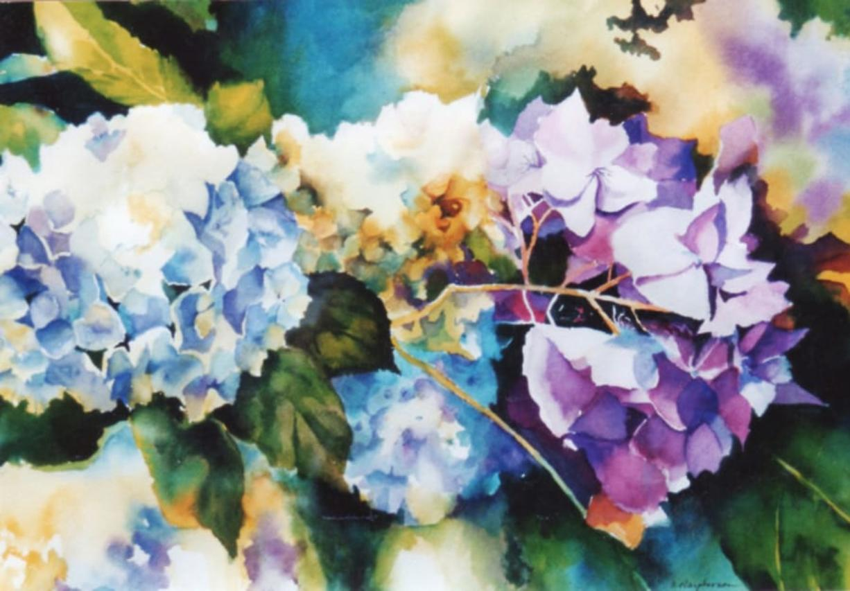 "See art by Southwest Washington Watercolor Society members, like ""Hydrangea Holiday"" by Carolyn Macpherson, which won second place in the spring show. (Contributed photo)"