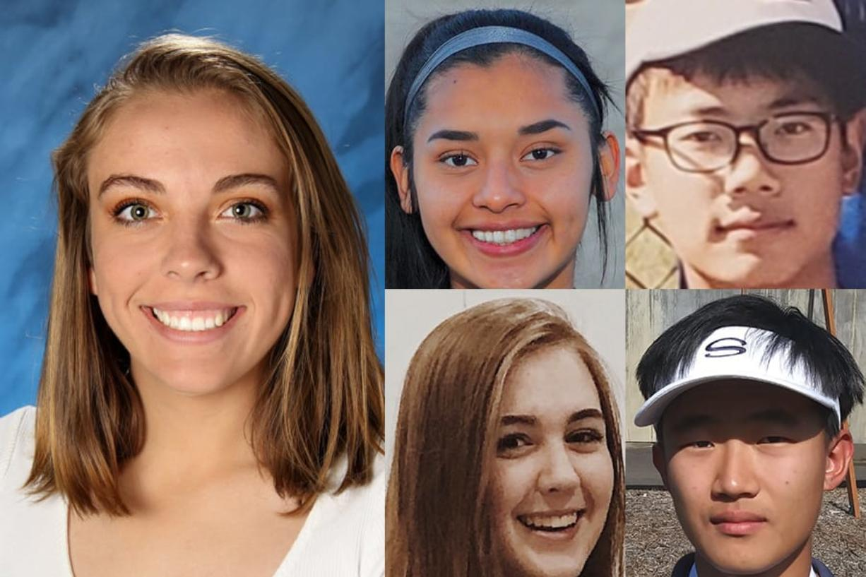 Week 3 fall sports prep athlete of the week Sophie Franklin of Camas (left) with nominees (clockwise from top left) Yaneisy Rodriguez of Columbia River, Kevin Kim of Mountain View, Allen Kim of Skyview and Katie Kogler of Firm Foundation