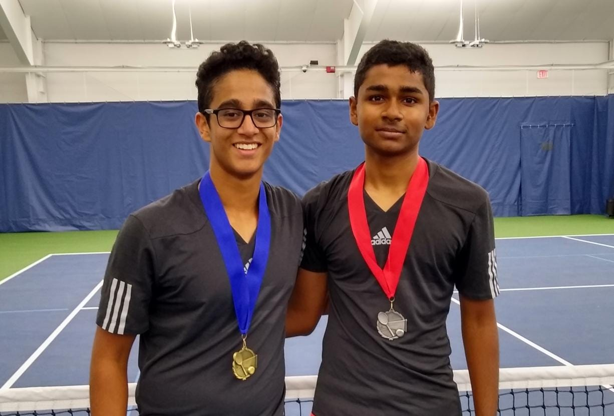 2019 4A district boys singles tennis champion Akash Prasad (left) and runner-up Shiva Narayanan, both from Camas. (Jeff Klein/The Columbian)