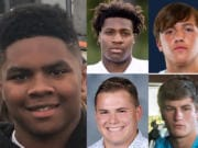 Week 7 prep football player of the week Isaac Bibb-O'Neill with nominees (clockwise from top left) Derrick Webb of Evergreen, Bailey Meek of King's Way Christian, Levi Crum of Hockinson and Hunter Abrams of Ridgefield