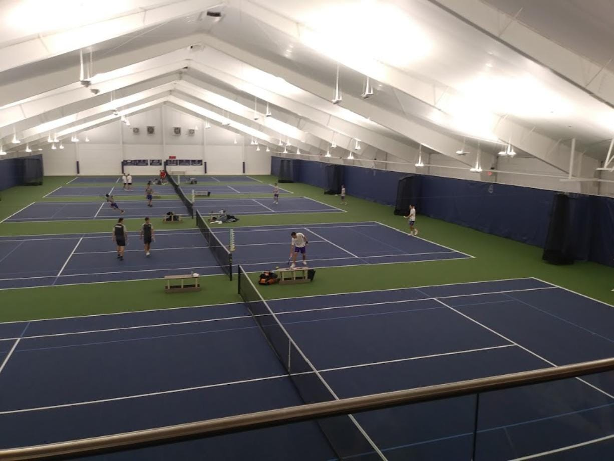 Players compete in the 2A sub-district boys tennis tournament at Vancouver Tennis Center.