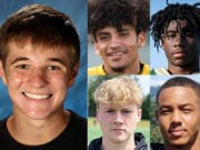 Week 5 prep football player of the week Jake Blair of Camas with other nominees (clockwise from top left) AJ Dickson of Prairie, Zyelle Griffin of Evergreen, CJ Jordan of Union, Alec Cann of Mountain View