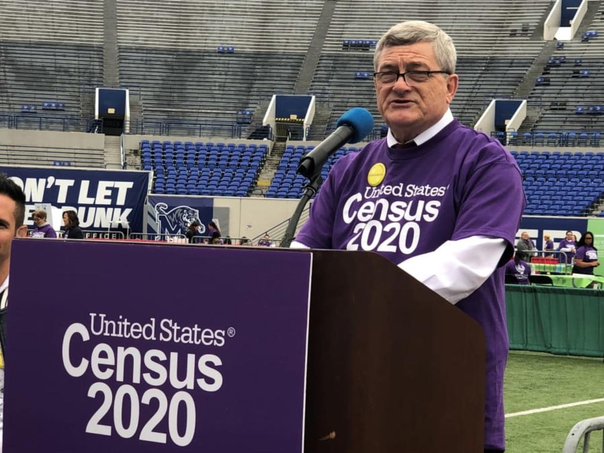 U.S. Census Bureau Director Steven Dillingham speaks at an event launching the 2020 Census Statistics in Schools program on Monday, Oct. 28, 2019, in Memphis, Tenn. Census officials launched a nationwide program Monday that uses schools to encourage participation in the once-per-decade head count.