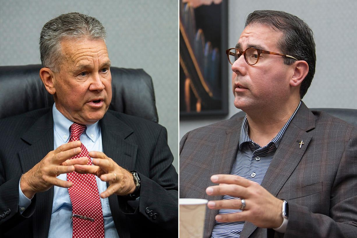 Adrian Cortes, right, is challenging Gary Medvigy for his seat on the Clark County Council.