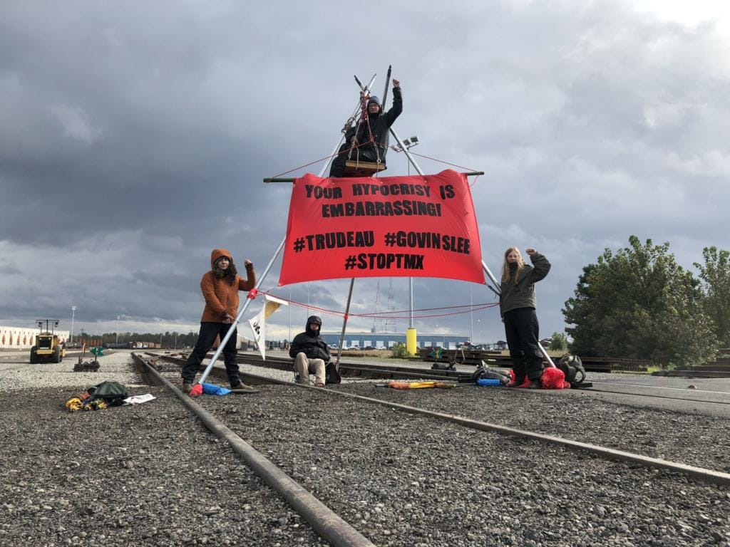 Demonstrators set up at the Port of Vancouver to protest the Trans Mountain Pipeline. (Will Campbell/The Columbian)