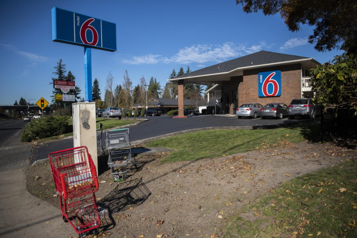 Abandoned shopping carts are seen here in front of the Motel 6 on Chkalov Drive. According to data provided by Clark Regional Emergency Services Agency, police, firefighters and medics were dispatched to 2,693 calls for service at Motel 6 in the past five years. A total of 2,052 calls were assigned to the Vancouver Police Department.