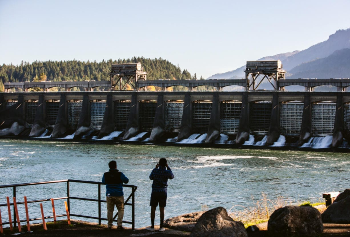 A recent photo of Bonneville Dam, looking upstream from Bradford Island. (Roberto Rodriguez for The Columbian)