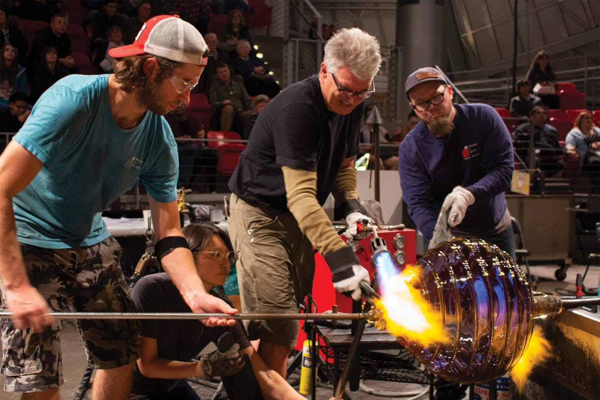 Glass artist Richard Royal and his team at work in the Hot Shop at the Museum of Glass in Tacoma.