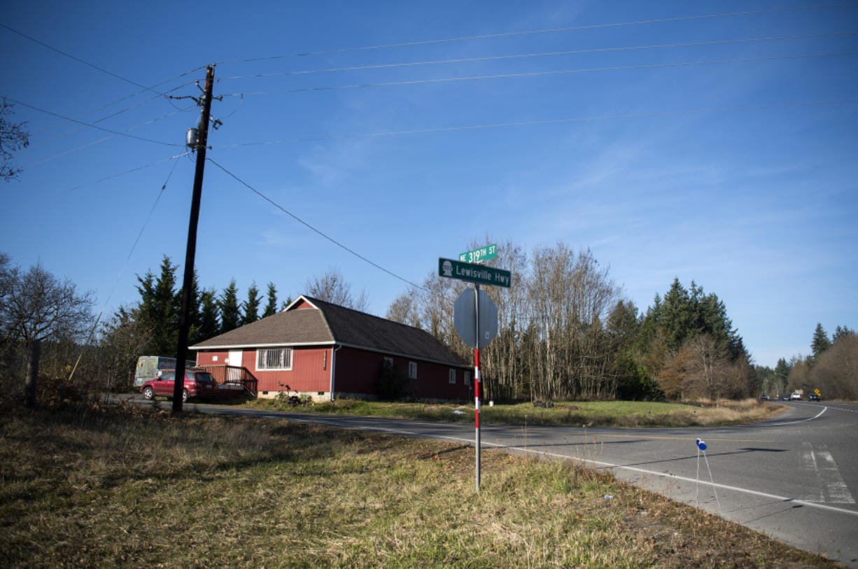 One of four Clark County properties up for auction as part of the receivership of the American Equities mortgage funds, is pictured along N.E. Lewisville Highway in Battle Ground on Nov. 4. The other properties are undeveloped.