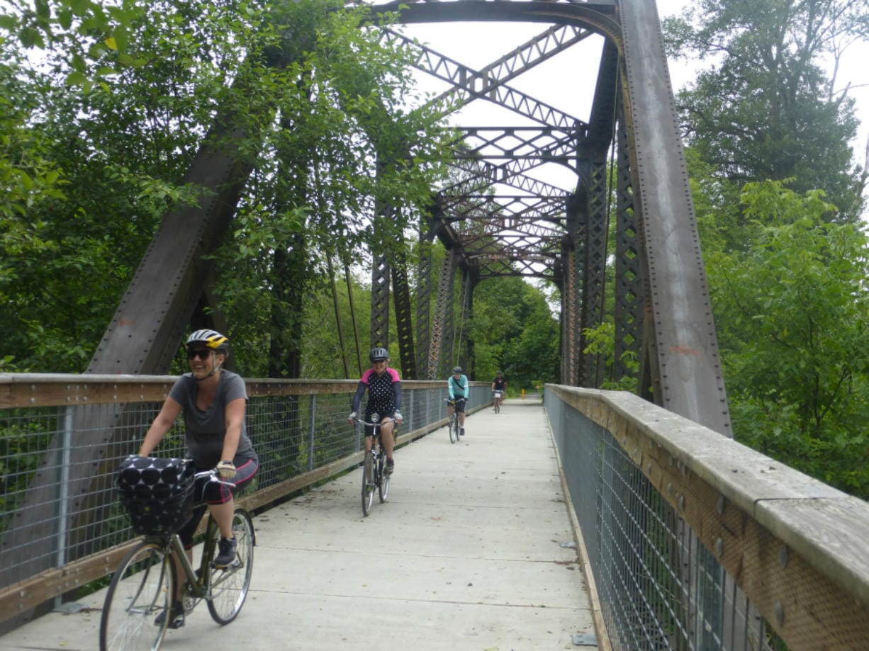 The flat, easy bike trail from Chehalis to Rainbow Falls State Park -- and beyond -- combines a few paved sections, long stretches of compacted gravel and fun features like this bridge.