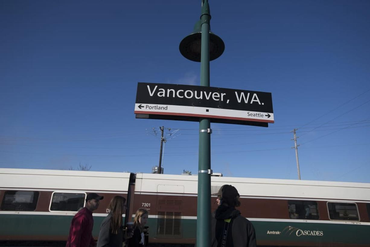An Amtrak Cascades train pulls into the station in Vancouver at mid-morning on Nov. 22. There are four round trips per day to Portland, but not at normal commute hours.