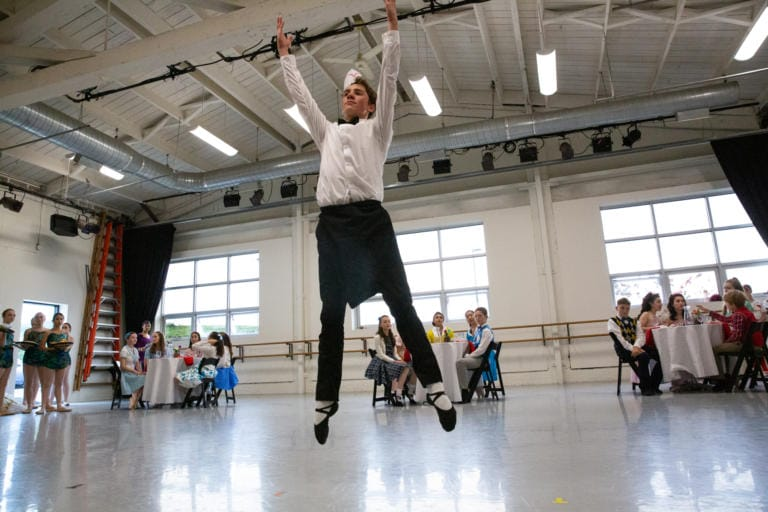 "Joel Stanley performs in the first dress rehearsal for the upcoming world premiere of Tom Gold's ""Petrushka"" at The Portland Ballet studio in Portland. (Elayna Yussen for The Columbian)"
