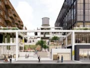 """A conceptual rendering from the architecture team of West of West and DLR Group shows the proposed plan for the two northern blocks of the Port of Vancouver's Terminal 1 redevelopment. The two buildings would feature ground floor retail opening out onto Columbia Way and a """"Spanish Steps""""-inspired pedestrian walkway between them."""