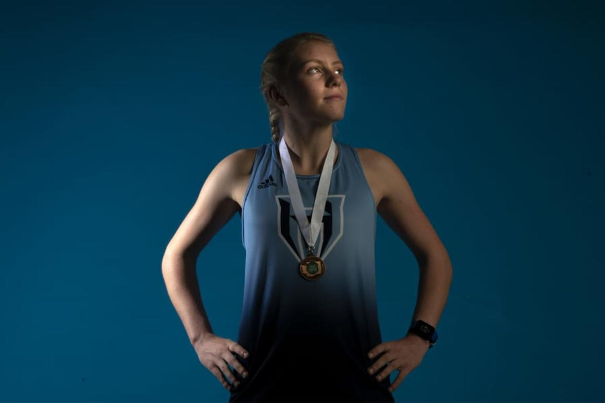 Hockinson's Allyson Peterson poses for a press photo in The Columbian studio on Wednesday afternoon, Nov 20, 2019. (Nathan Howard/The Columbian)