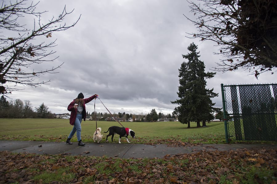 Vancouver resident Megan Deeney strolls with her dogs, Newman, 8, from left, and Sid, 9, as they pass an empty lot at 8614 N.E. 25th Ave. The lot is the proposed site for a new Vancouver Public Schools elementary school, but the district is weighing whether to carry on with the project in light of increasing construction costs and declining enrollment. (Amanda Cowan/The Columbian)