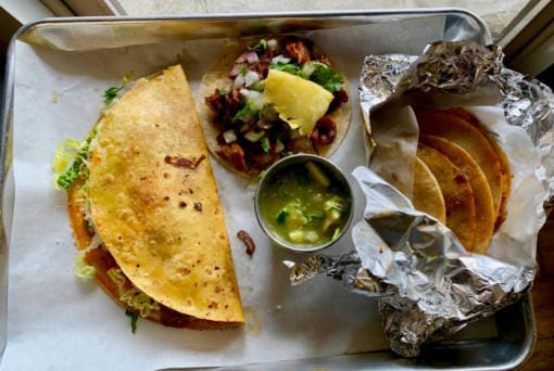 A keka, taco al pastor and basket tacos at Los Alambres. (Rachel Pinsky for The Columbian)
