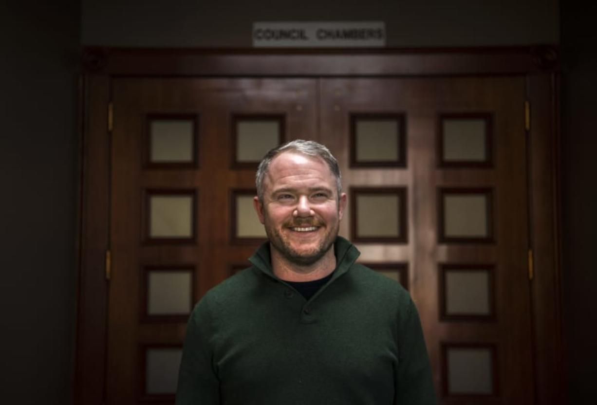 Camas Mayor-elect Barry McDonnell at Camas City Hall, where he was in a day of meetings with department heads and city officials on Friday. McDonnell will be sworn in Tuesday after winning an improbable write-in campaign he launched a month before the November election.