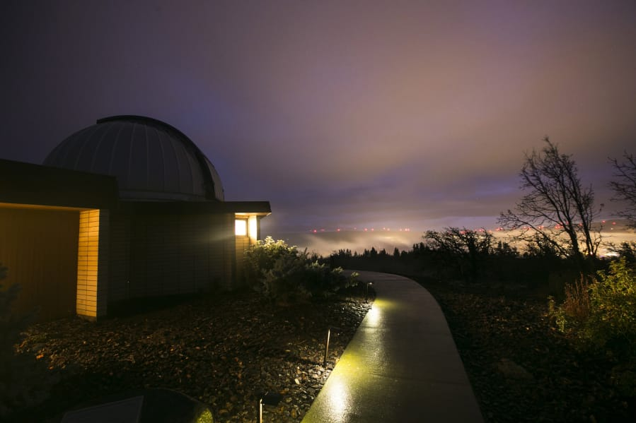 Light pollution from Goldendale floods the night sky in December 2014 at the Goldendale Observatory State Park.