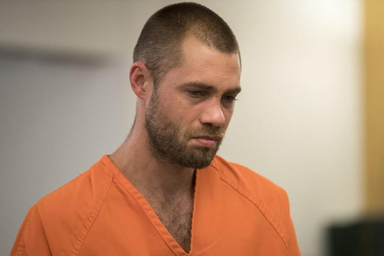 Daniel Scott Berry makes a first appearance July 23 in Clark County Superior Court in connection with a fatal crash involving a motorcyclist in Battle Ground. Berry was sentenced Wednesday to nearly eight years in prison. (Amanda Cowan/The Columbian files)