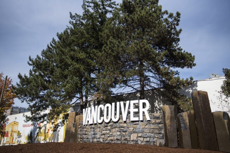 The City of Vancouver entrance sign is seen at the corner of Sixth and C streets in downtown Vancouver.