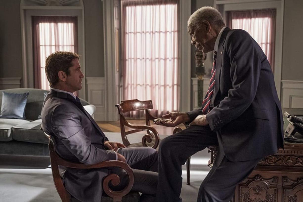 """Gerard Butler, left, and Morgan Freeman in """"Angel Has Fallen."""" (Lionsgate)"""