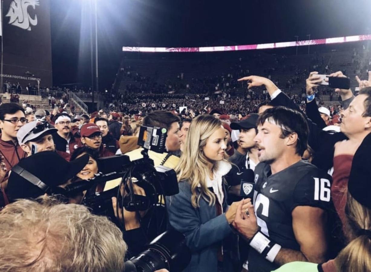 Pac-12 Network's Camryn Irwin interviews Washington State quarterback Gardner Minshew after the Cougars beat the Oregon Ducks in 2018.