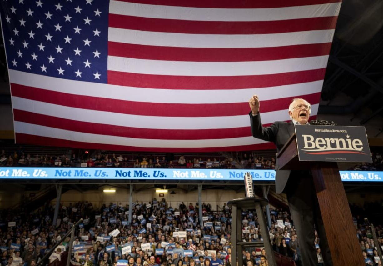 Sen. Bernie Sanders speaks during a rally with Rep. Ilhan Omar at Williams Arena at the University of Minnesota in Minneapolis on Sunday, Nov. 3, 2019.