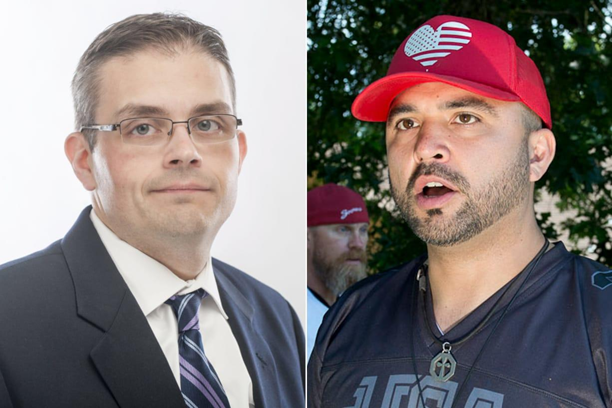Battle Ground Mayor Mike Dalesandro, left, and Patriot Prayer leader Joey Gibson