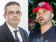 Battle Ground Mayor Mike Dalesandro, left, and Patriot Prayer leader Joey Gibson