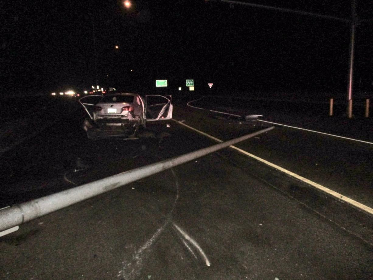 A man suffered a broken neck Monday morning after he reportedly fell asleep at the wheel and crashed into a light pole on northbound Interstate 5 at the Port of Entry in Ridgefield.