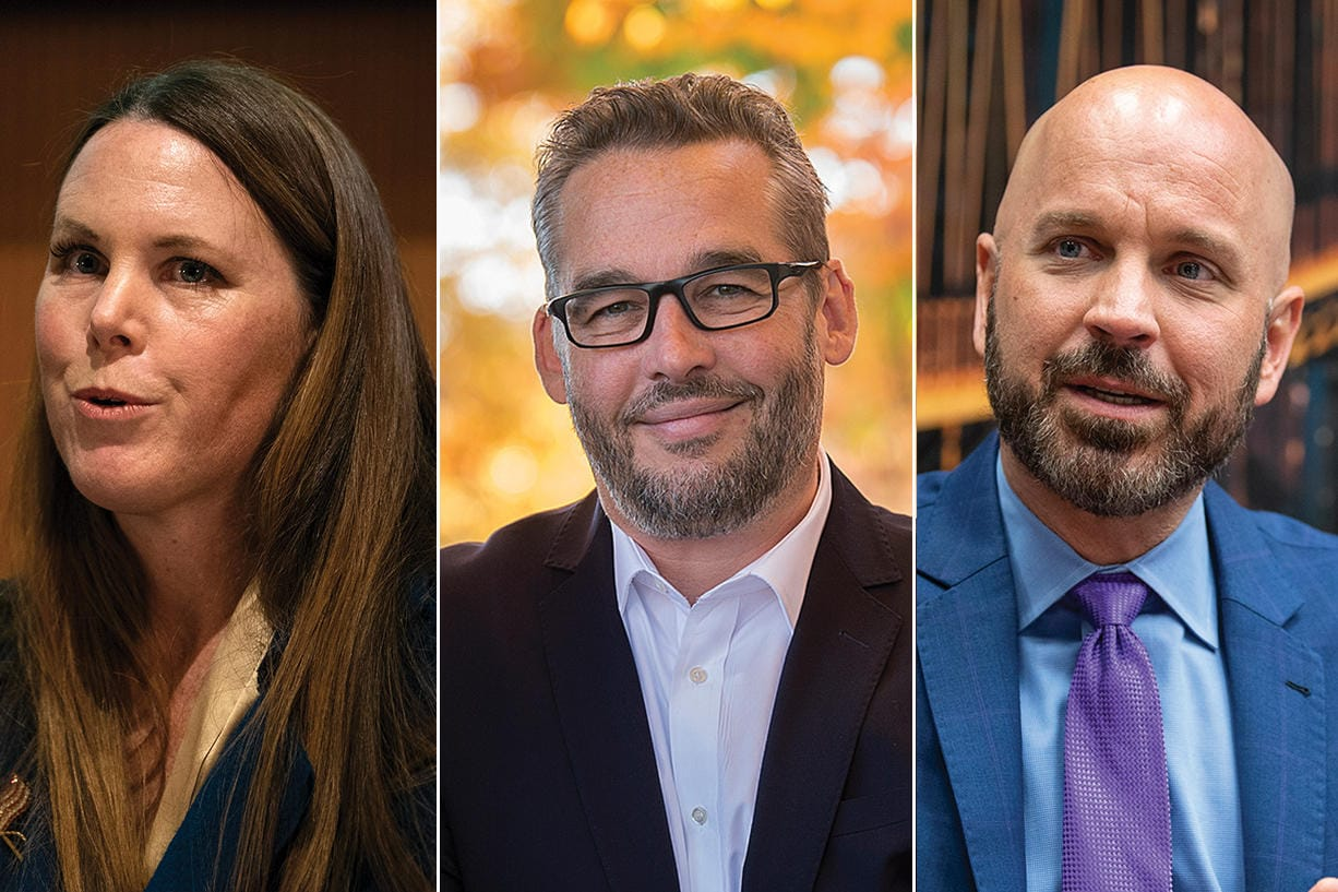 Sarah Fox, from left, Erik Paulsen and Ty Stober were all winning their Vancouver City Council races in initial election results Tuesday night.
