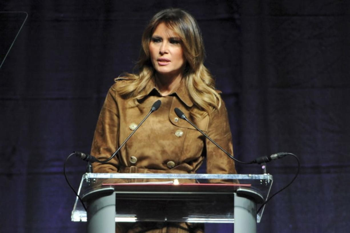 First lady Melania Trump speaks Tuesday at the B'More Youth Summit  at UMBC in Baltimore. The first lady urged students to avoid misusing drugs. (haddock taylor/The Baltimore Sun)
