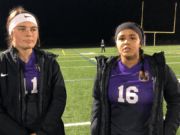 Columbia River sophomore Ella Osborne, left, had a goal and an assist and Chieftain senior Shalece Easley had two goals in the Chieftains' 5-1 win over Washougal on Saturday at Chieftain Stadium.