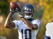 Seattle Seahawks receiver Josh Gordon works out with the NFL football team in Renton, Wash., Thursday, Nov. 7, 2019.