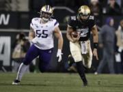 Colorado quarterback Steven Montez runs for a short gain as Washington linebacker Ryan Bowman pursues during the first half of an NCAA college football game Saturday, Nov. 23, 2019, in Boulder, Colo.