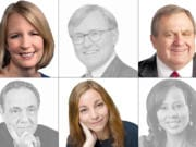 The Columbian's business columnists are changing. Clockwise from top left are Liz Weston, Kenneth R. Hartney, Don Brunell, Michelle Singletary, Helaine Olen and Malcolm Berko. Harney and Berko both died earlier this year.