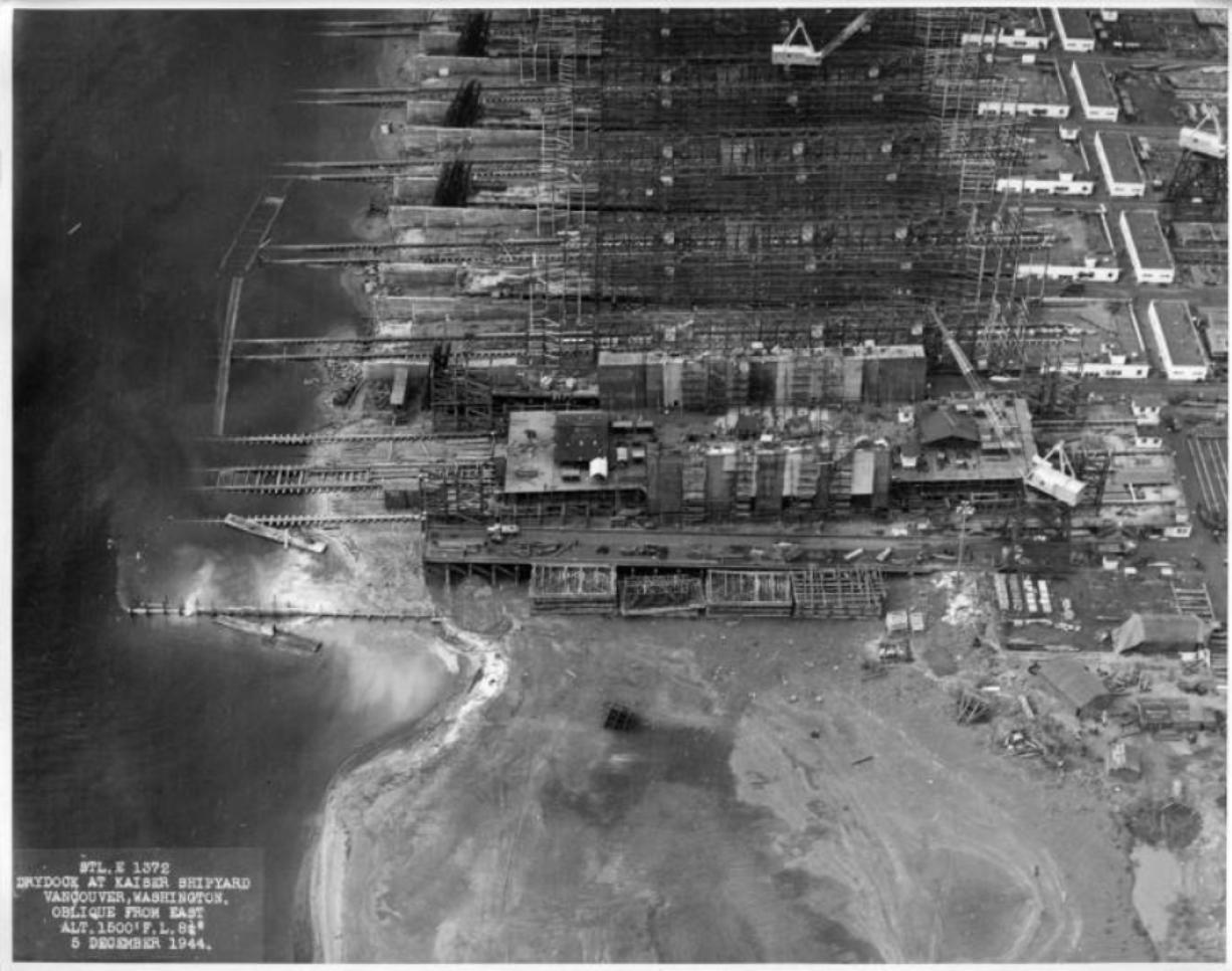 Kaiser shipyard aerial: An aerial view of the Kaiser Shipyard in Vancouver along the Columbia River, as seen in 1944. (Photos courtesy of the Clark County Historical Museum)