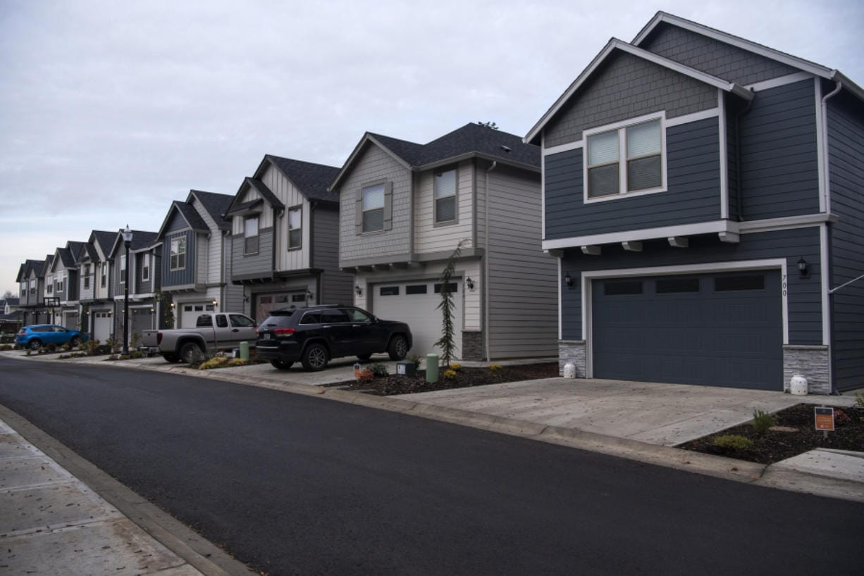 A row of recently completed homes at the Ginn Group housing development, The Landing at Salmon Creek. The community is about 75 percent complete.