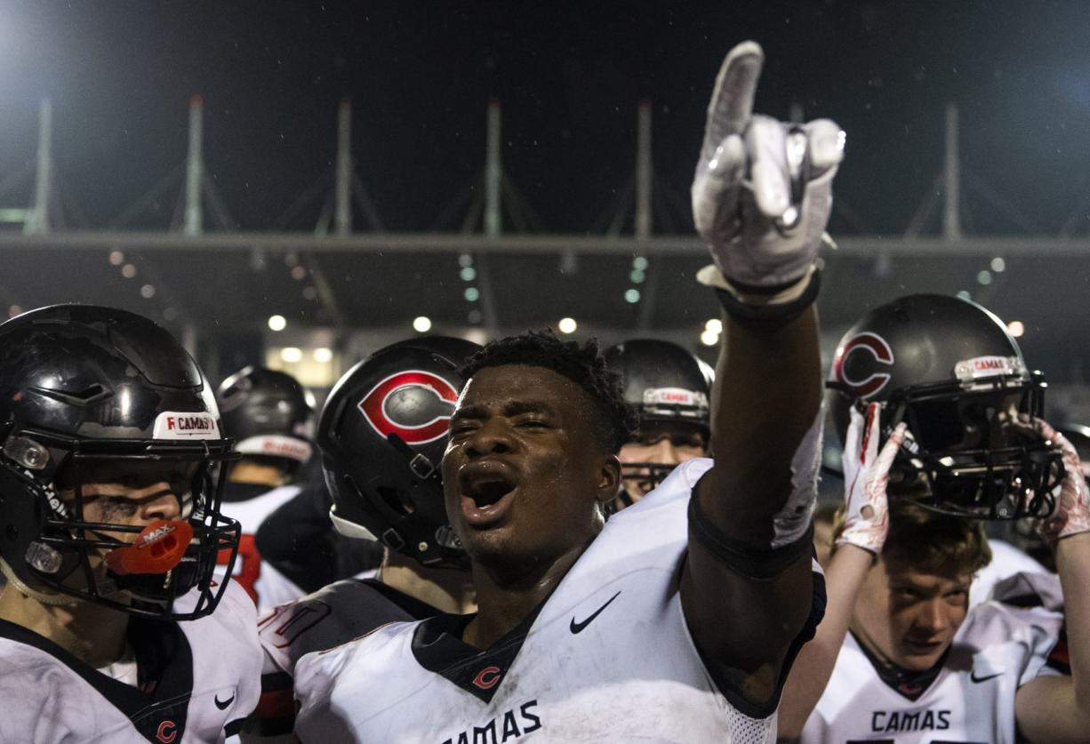 Camas' Jacques Badolato-Birdsell (2) celebrates the teamÕs win after SaturdayÕs Class 4A state championship game against Bothell at Mount Tahoma High School in Tacoma on Dec. 7, 2019.