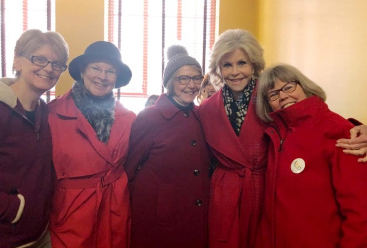 Central Vancouver: Jeanine Cogan, from left, Vancouver resident Lynn Osborn, Joann Martin, Jane Fonda and Kitty Westin at a march in Washington, D.C., to raise awareness about climate change.