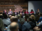 State legislators from Clark County reviewed a wide range of topics during the annual Legislative Outlook Breakfast on Friday morning at WareHouse '23 in Vancouver. State Rep. Sharon Wylie, D-Vancouver, from left, state Rep. Paul Harris, R-Vancouver, state Rep. Vicki Kraft, R-Vancouver, state Sen. Lynda Wilson, R-Vancouver, state Sen. Annette Cleveland, D-Vancouver, state Rep. Monica Stonier, D-Vancouver, and state Rep. Larry Hoff, R-Vancouver, spoke during the breakfast.